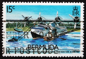 BERMUDA - CIRCA 1987: a stamp printed in Bermuda shows Sikorsky S-42B, 1937, International Flights Inauguration, circa 1987