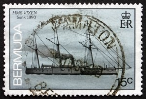 BERMUDA - CIRCA 1986: a stamp printed in Bermuda shows HMS Vixen, Shipwreck, Wrecked 1890, circa 1986